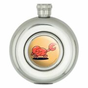 Crab Dubstep Funny Humor Round Stainless Steel 5oz Hip Drink Flask