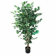5 Foot Indoor Outdoor Fake Ficus Tree With Over 1000 Leaves Artificial Plant