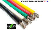 8 Awg Gauge Marine Tinned Copper Battery Cable Boat Wire Made In Usa
