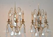 Antique Louis Xv Style Silvered And Cut Glass Sconces 19th Century