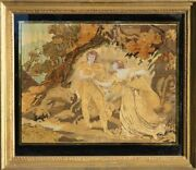 Antique 1810 Framed Signed George Iii Silk Embroidery