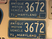 1971 Maryland Antique Motor Vehicle Tags License Plates 3672