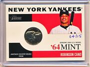 Robinson Cano 2013 Topps Heritage '64 Mint Genuine 1964 U.s. Nickle Coin 'd /15