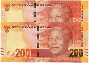 South Africa 200 X 2 Rand Nd 2012 P137 Nelson Mandela - Run Of 2 Unc Banknotes