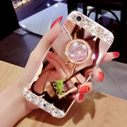 Luxury Women Bling Diamond Ring Holder Stand Mirror Back Case Cover For Iphone