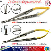 Medentra® T/c Castroviejo Micro Curved And Straight Forceps Suture Holder Driver