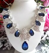 Betsey Johnson Crystal Blue And Clear Teardrop Pendant Choker Necklace