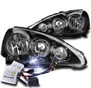 For 05-06 Acura Rsx Dc5 Crystal Style Black Headlights Lamp W/10k Xenon Hid Pair