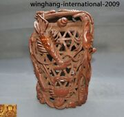 China Natural Bamboo Root Carved Shrimp Conch Crab Baskets Cage Basketful Statue