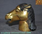 Rare Antiques Old China Dynasty Bronze 24k Gold Zodiac Animal Horse Head Statue