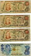 Lot Of 8 Diff 1949 Philippines Banknotes 52 Piso Total 3x10 4x5 1x2