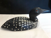 Collectible Wooden Hand Made Decoy Duck Desk Top Table Top Long Beak Black White
