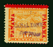 Canal Zone Us 1904 Map Of Panama 10c Yellow -violet Handstamped- Sc 3 Mint Mh