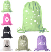 St Patrickand039s Day Drawstring Backpack Cotton Canvas Backpacks Bulk Gift Bags