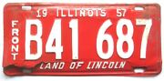 Illinois 1957 Truck Vintage Old License Plate Garage Tag Pickup Front Rustic Bar