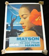 1960s Original Hawaii Matson Resorts Afloat To And From Hawaii Poster Hot50