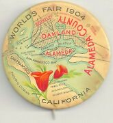 1904 St Louis Worlds Fair Pin Oakland Ca Alameda County Map Poppies Gorgeous