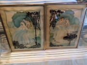 Pair Glass Convex Silhouette Courting Framed Picture Vintage