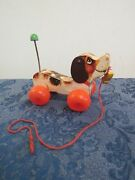 1965 Fisher Price Little Snoopy Wheel Wood Pull Toy W/original Shoe 693