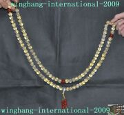 100 Natural Crystal Painted Gold 108 Prayer Six Words Of Mantra Buddha Beads