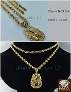 Menand039s Real 10k Yellow Gold Egyptian Pharaoh Head Charm With 22 Inch Rope Chain.