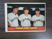 1961 Topps 383 Frisco First Liners Card Giants Mike Mccormick Jack Sanford