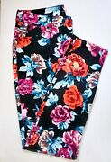 Nwt 99 Chicoandrsquos Sateen Rose Print Jeggings Cool Multi-color Choose A Size