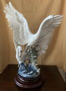 Lladro 5912 Swans Take Flight Glazed Retired Base Included Perfect Condition