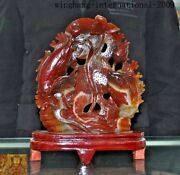 Chinese Fengshui Natural Red Agate Carved Lucky Jade Lotus Fish Goldfish Statue