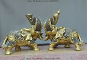 22 Chinese Brass Fengshui Lucky Yuanbao Money Coin Wealth Elephant Statue Pair