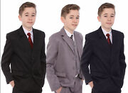 Boys Suits 5 Piece Wedding Suit Prom Page Boy Baby Formal Party 3 Colours And Ties