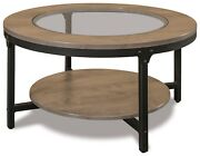 Set 3 Industrial Accent Tables Coffee Console End Solid Wood Steel Black Base