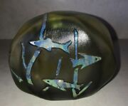 Vintage Signed R.eickholt Glass Paperweight 1978 Rare With Dichroic Fish