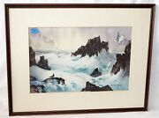 '70s Us California Wc Painting Seagulls And Moon By Robert Landry 1921-1991rad