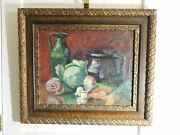 1800and039s Oil On Canvas Still Life Vegetables Victorian Frame