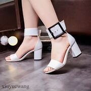 Buckle Womens Peep Toe High Block Heel Dating Party Formal Sandals Shoes Size