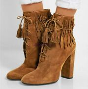 Cowboy Womens Retro Shoes Suede Tassels Ankle Boots Lace Up Chunky Heels Fashion