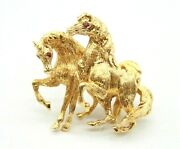 Vintage 18k Yellow Gold 2 Horses Pin Brooch With Rubies. 30mm Made In Italy
