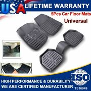 5pcs Motor Trend Black Deep Dish All Weather Floor Mats Set For Cars Suvs Trucks