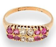 Antique 18ct Yellow Gold Ruby0.50ct And Diamond0.33ct Cluster Ring Size R