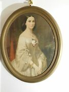 Erich Correns Portrait Color Lithograph Southern Belle Oval Victorian Frame