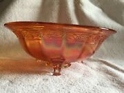 Vintage Imperial Carnival Glass Marigold Floral And Optic 3-footed Bowl C.1920