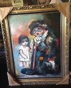 Large Ozz Franca Clown And Big Eye Girl Original Signed Oil Painting