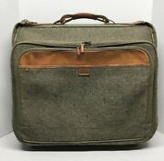 Vintage Hartmann Tweed Leather Rolling Carry On Luggage Garment Bag Suitcase 22