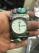 Vintage Navajo Sterling Silver Turquoise Bracelet Cuff Seiko Watch Signed Ihmss