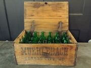 Vtg Muehlebach Brewery Wood Crate Of Green Beer Bottles Kansas City Prohibition