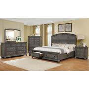 Contemporary 4pc Queen Storage Bed Set Bedroom Dresser Mirror And Ns Furniture