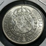 1937 Sweden Silver Two Kronor Brilliant Uncirculated Key Date Coin