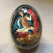 """Beautiful Hand Painted Russian Wooden Egg Fairytale Figure Signed 4"""" Tall 49"""