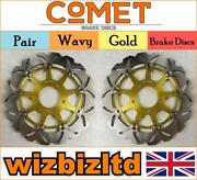 Pair Gold Wavy Discs Suzuki Sv650 Sk3/sk4/sk5 Top Fair Non Abs 2003-12 W908gd2